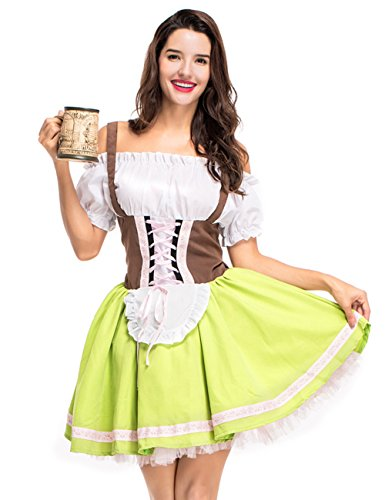 Colorful House Womens Oktoberfest Beer Maid Fancy Dress Costume (Size XL, Green)