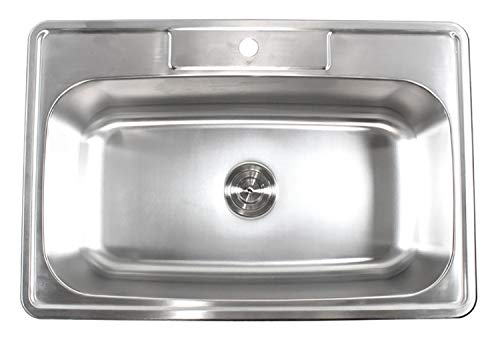 33 Inch Top-mount/Drop-in Stainless Steel Single Bowl Kitchen Sink With 1 Faucet Hole - 18 ()