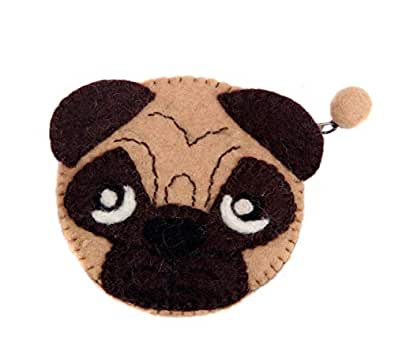 Panda/Sheep/Monkey/Dog Coin Purse (Change Pouch/Wallet/Bag) Animal Handmade Felt Zip brown Size: Small