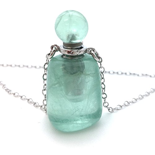 Necklace Green Fluorite - Kate Avenue Sterling Silver Gemstone Aromatherapy Essential Oil Diffuser Necklace,Perfume and Mosquito Repellent Necklace 20