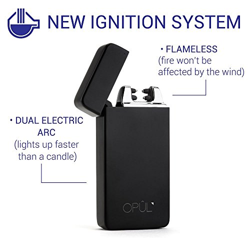 -[ Double Arc Lighter, Flameless Electric Cigarette USB Lighter, Windproof USB Rechargeable Tesla L