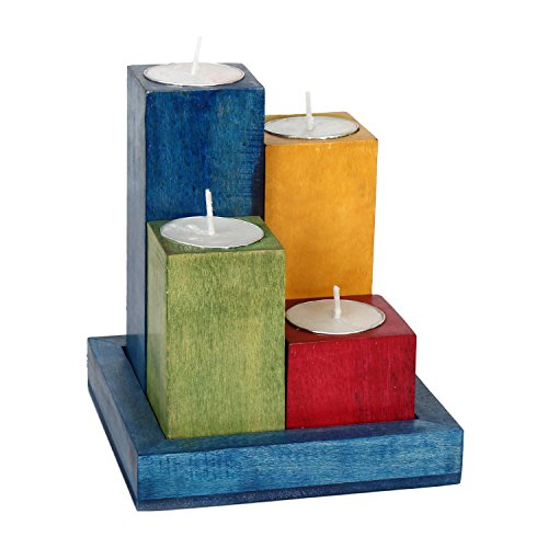 Wooden Tealight Candle Holder Set With Tray In Multicolor Finish For Home Decor/Gift/Christmas (Candle Holders Colorful)