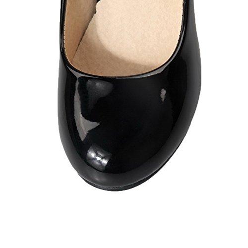 Couleur Verni Aalardom Chaussures Unie Noir Talon Femme Haut Rond Tire À Légeres Z6waq1Hx6