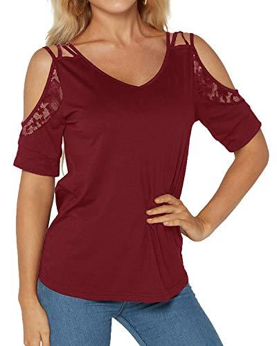 Rosso shirt T Donna Yoins Scuro tCw047xqY