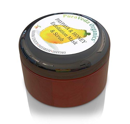 PuraVeda Organics - Organic FACIAL EXFOLIATION MASK & DAILY SCRUB | Pure Honey & Papaya Formula | Normal Skin ()