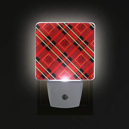 WIHVE Plug in LED Night Light, Red Black and Gold Rose Tartan Plaid 2 Pack, Desk Lamp, Dusk to Dawn Sensor, Great for Bedroom Bathroom Hallway Stairways