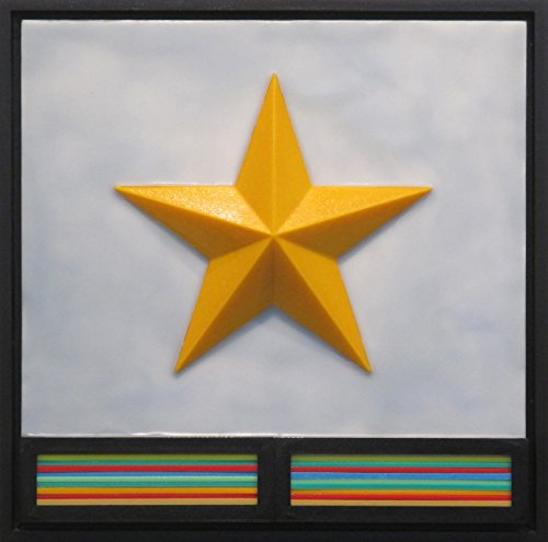 Star Over McCamey - encaustic & 3D-printed mixed media art painting
