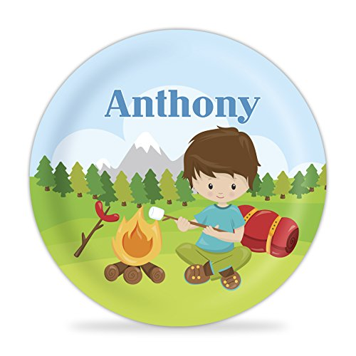 Camping Plate - Forest Tent Camper Boy Melamine Personalized Name Gift