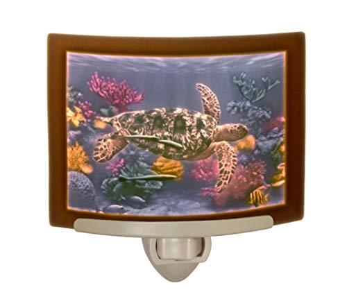 Sea Porcelain - Sea Turtle - Colored Curved Porcelain Lithophane Night Light