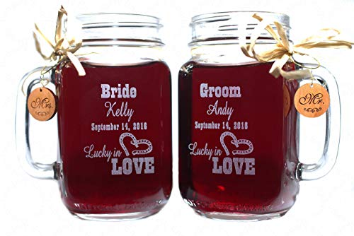 Western Engraving (Bride and Groom Wedding Mason Jars for your Western Wedding Personalized with Name and Date.)