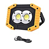 LED Work Light Rechargeable, 2X COB Super Bright 20W Flood Lights Spot Light with USB Output Outdoor Waterproof Camping Light for Work Car Repairing and Workshop
