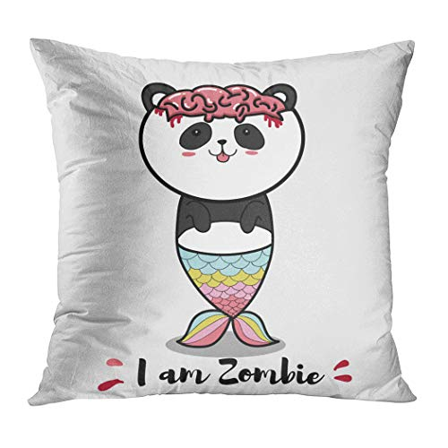 Suklly Throw Pillow Cover Square 16x16 Inch Zombie Panda Cute Cartoon Halloween Cushion Home Sofa Decor Hidden Zipper Polyester -