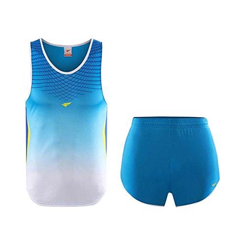話すバーター傑出したKINDOYO メンズ レディーズ スポーツ 運動服 スーツ セット チョッキ タンクトップ ショットパンツ アンサンブル ペアルック ブルー 3XL-W身長:170-175cm