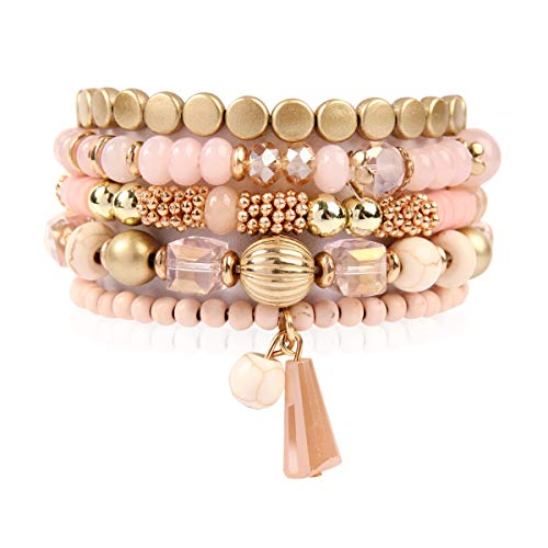 Stackable Pink - RIAH FASHION Bead Multi Layer Versatile Statement Bracelets - Stackable Beaded Strand Stretch Bangles Sparkly Crystal, Tassel Charm (Bohemian Mix - Pink)
