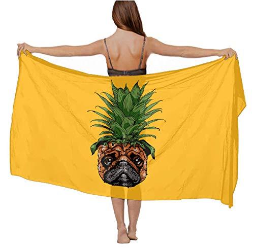 Chiffon Scarf Sexy Evening Party Swimsuit Shawl Soft Cozy Head Wrap Long Summer Elegant Wrap Sunscreen Paisley Shawl (Pineapple Pug), 70.8 x 39 inch ()
