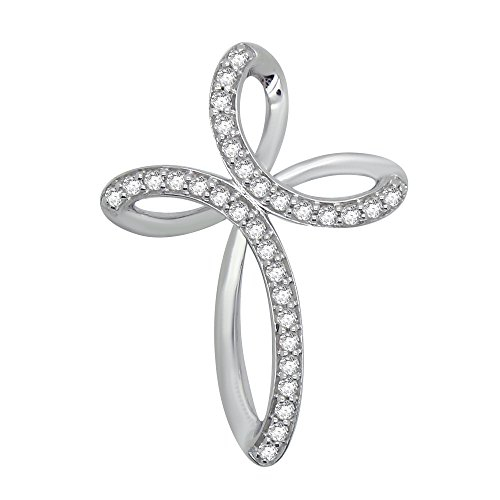 OMEGA JEWELLERY 1/4 Ct Round Cut Natural Diamond 925 Sterling Silver Infinity Cross Pendant ()