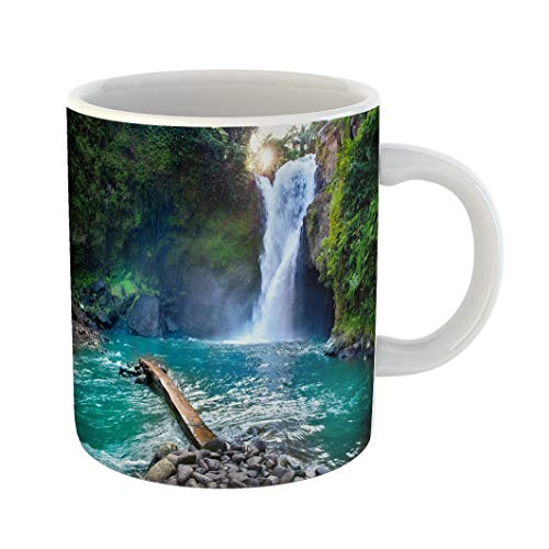 Emvency Coffee Tea Mug Gift 11 Ounces Funny Ceramic Tegenungan Waterfall It Is One of Places Interest Bali Secret Jungle Indonesia Gifts For Family Friends Coworkers Boss Mug -