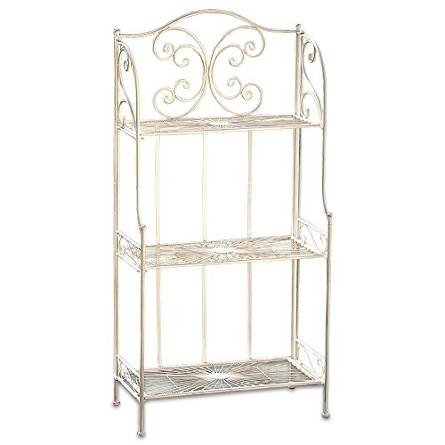 (WHW Whole House Worlds French Country Style Bakers Rack, Rustic White, Distressed Vintage Reclaimed Style, Wrought Iron, for Indoor and Outdoor Use, Over 4 Foot Tall)