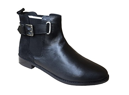 Womens Ladies Real Leather & Suede Black Ankle High Chelsea Boot Low Flat Block Heel Slip Pull On Elastic Tab Boots vh0C4V