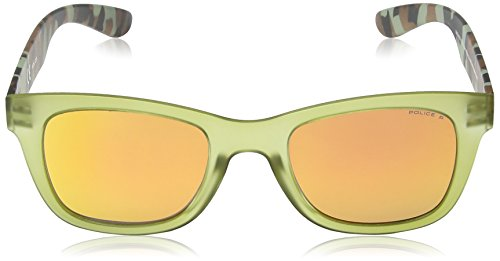 Gold amp; Mixte Wayfarer Soleil Mirror Camouflage Lunette Green Frame Police 1 Lens Semi Transparent De Matt Exchange P6gwA