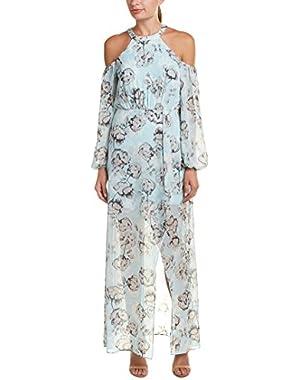 Womens Cold-Shoulder Maxi Dress, 2, Blue