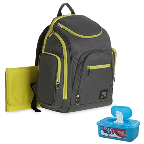 baby-boom-spaces-and-places-backpack-baby-diaper-bag-grey-green-plus-bonus-hypoallergenic-unscented-