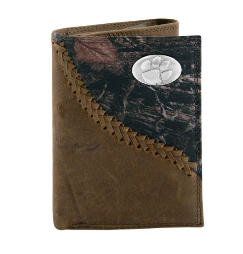 NCAA Clemson Tigers Camouflage Leather Trifold Concho Wallet, One Size