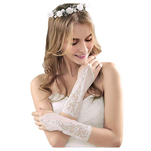 (Drecode Bride Wedding Elbow Length Glove Beaded Lace Flower Glove for Women and Girls)