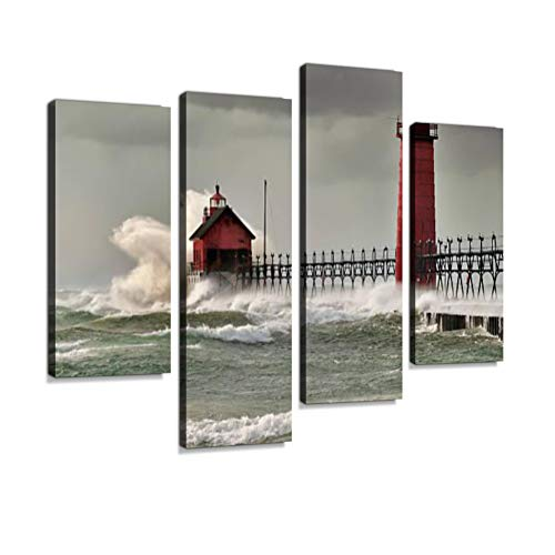- Giant Waves Over The red Grand Haven Lighthouse, Michigan Canvas Wall Art Hanging Paintings Modern Artwork Abstract Picture Prints Home Decoration Gift Unique Designed Framed 4 Panel