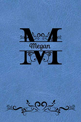Split Letter Personalized Journal - Megan: Elegant Flourish Capital Letter on Medium Blue Leather Look Background