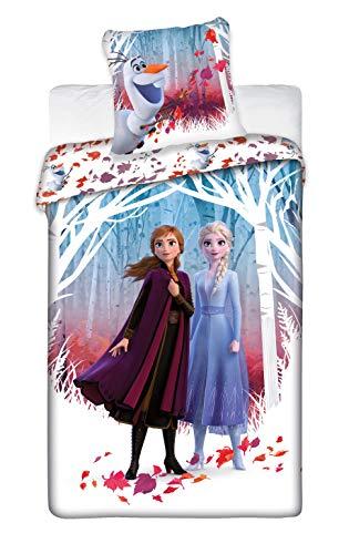 , Aymax S.P.R.L. Parure de lit Frozen 2 Leaves – Housse de Couette Reine des Neiges 140×200 cm + Taie d'oreiller 63×63 cm Disney