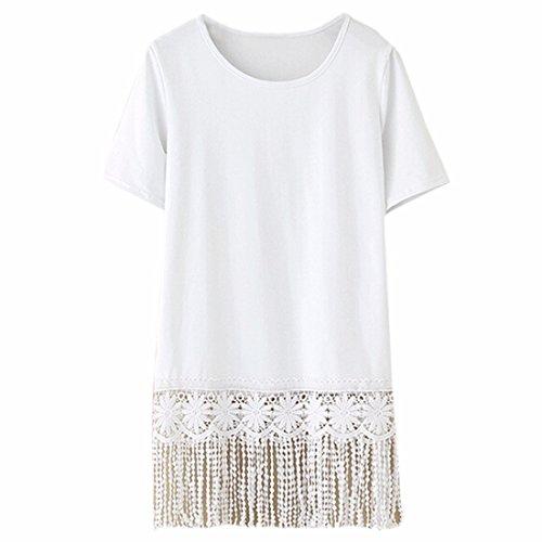 con manica a Camicia da nappa Sexy bianca Top donna corta shirt Camicetta Hem a Recadré T frange gXfpn