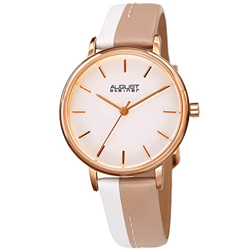 August Steiner AS8261 Designer Women's Watch - Two Tone Genuine Leather Band with Exposed Center Stitch, Enamel Dial, 3 Handed Quartz Movement (Tan)