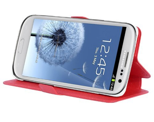 m Book Style Cover works with Samsung Galaxy S3/S3 NEO (GT-I9300) with Card Slot and Stand Function - Etui Case Protection Skin in CANDY-APPLE-RED ()