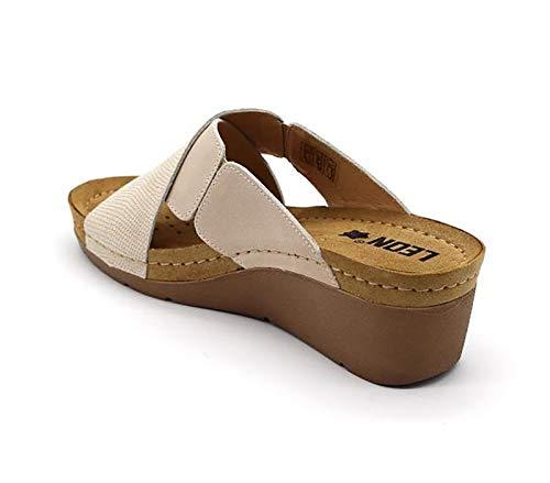 Beige De Zapatos Leon 1008 Cuero Mujer Zapatillas Zuecos Para ZqWBwFx6f