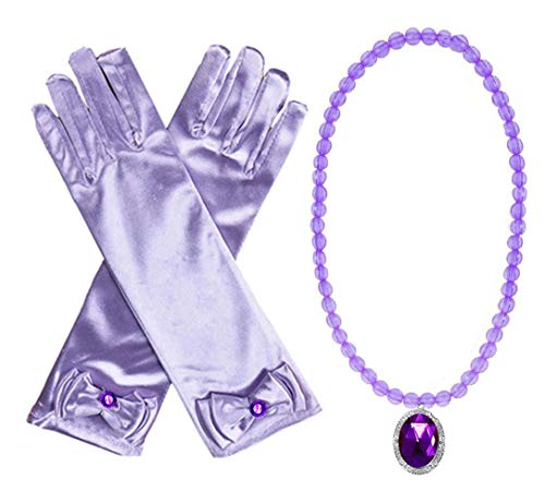 Yosbabe Princess Belle Elsa Aurora Dress up Accessories Party Favors 2 Pcs Gifts Set - Gloves and Glittering Necklace for Girls Kids (Purple)
