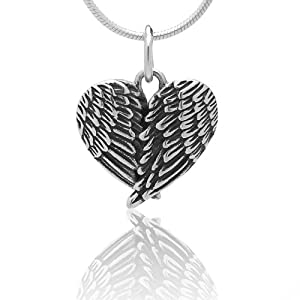 925 Oxidized Sterling Silver Angel Wings Heart Feathers Pendant Necklace, 18 inches - Nickel Free