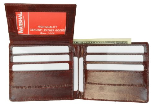 Eel Leather - EEl Skin Bi-fold Mens Wallet Burgundy #E316