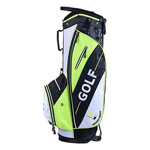14-Way Slot Golf Club Stand & Carry Bag Black Green w/ Bag Cap
