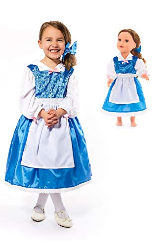Little Adventures Beauty Day Princess Dress Up Costume with Hairbow & Matching Doll Dress (Small (Age 1-3))