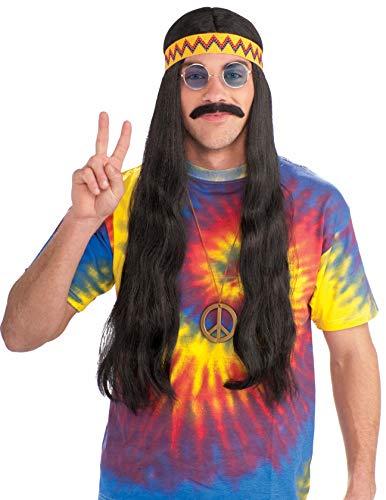 Mens Long Hair Halloween Costumes (Forum Novelties Men's Hippie Dude Headband Long Costume Wig, Black, One)