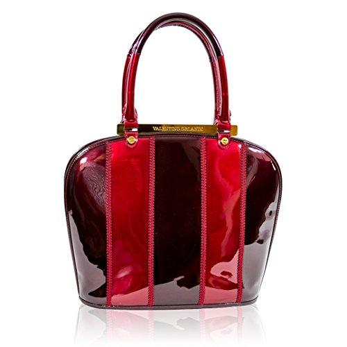 Valentino Orlandi Italian Designer Marsala Red Patent Leather Purse Bowling Bag - Italian Patent Leather Handbag Purse