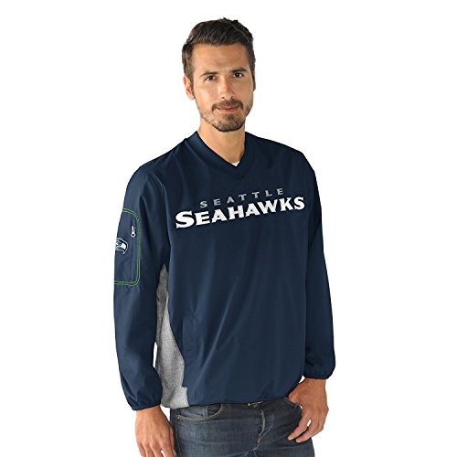 Seattle Seahawks NFL Men's G-III Sports by Carl Banks Gridiron V-Neck Pullover Jacket (Xlarge) (Seahawks Jerseys Wagner compare prices)