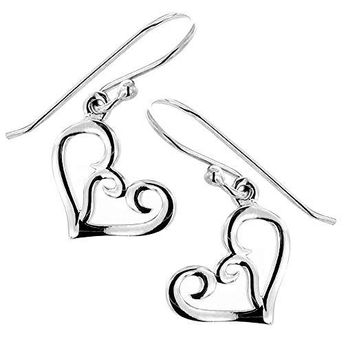 Oxidized 925 Sterling Silver Modern Symbolic Whimsical Swirl Open Heart Minimalist Dangle Earrings ()