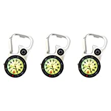 White Silver Clip-on Carabiner FOB Watch Luminous Face with Compass & Bottle Opener For Doctors Nurses Paramedics Chefs Extra Battery (3-Pcs.)