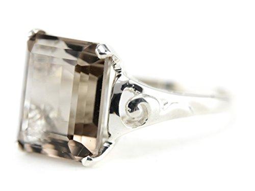 - 925 Market Square Smoky Quartz Sterling Silver Cocktail Ring (Light-Smokey-Quartz)