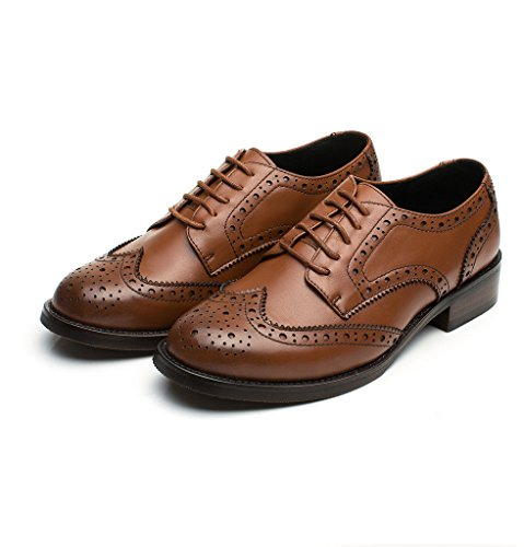 Women's Leather Flat Oxfords Shoes For Women Perforated Lace-up Wingtip Vintage Brogues Shoes