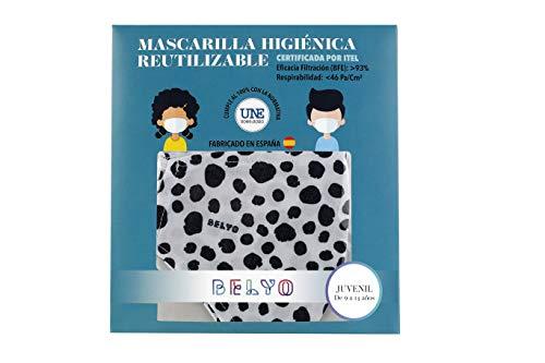 """41jFFPI83EL Mascarilla higiénica reutilizable certificada y homologada con normativa UNE0065:2020. Certificada por ITEL (Instituto Técnico Español de Limpieza). Eficacia de filtración >93% (""""Ensayo BFE"""") y de Respirabilidad >46 Pa/cm2 (Presión diferencial). Tejido hidrofobo y anti bacteriano. Mascarilla compuesta en un 65% algodon, 35% polyester, lavable (hasta 20 lavados a 60 grados con jabon neutro), cómoda y segura"""