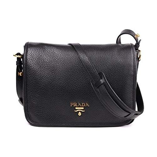 Prada Vitello Phenix Nero Black Pattina Shoulder Messenger Bag 1BD091