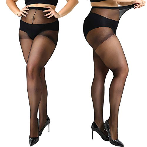 MANZI 4 Pairs Women's 20 Denier Sheer Plus Size Pantyhose Tights ()